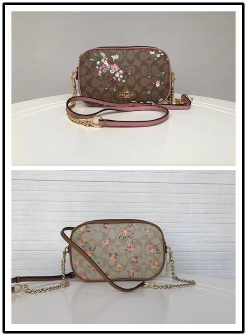 NaNa代購 COACH 29732 兩色可選 新款小碎花拉鏈鏈條包 小方包 後置口袋 簡約時尚 附購證 買即送禮