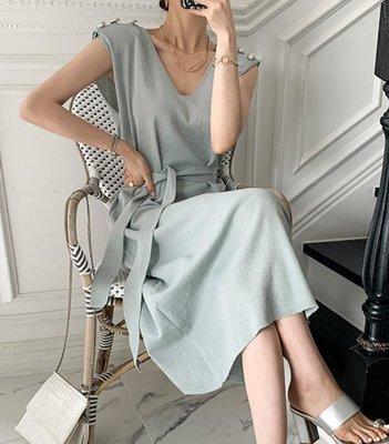 【2A Two】奢華感✨收腰綁帶V領無袖針織連身裙『BC00240』背心洋裝