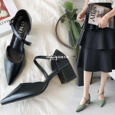 litterluck-韓國專櫃一字扣帶涼鞋女中跟2019夏季新款粗跟涼鞋女鞋包頭尖頭高跟鞋子女