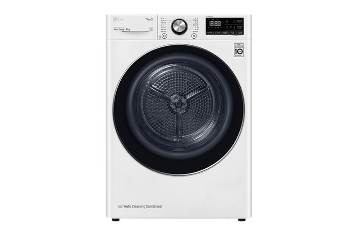 【棋杰電器】LG Heat pump 溫和除濕式乾衣機 WR-90VW (冰磁白)【☎來電享折扣】