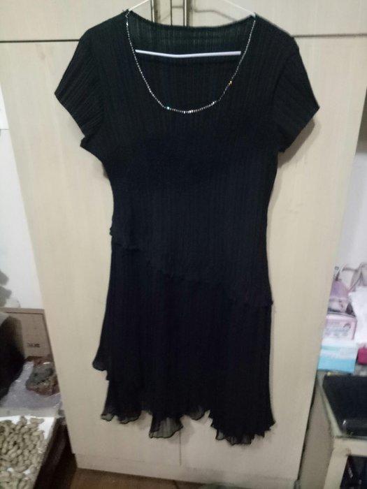 專櫃H. M. Y. T黑色洋裝可當小禮服肩16胸17腰17臀28長37袖4(櫃床白556)9成新