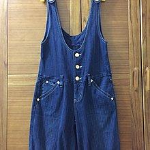 【木風小舖】Edwin副牌.Something 金釦 刺鏽 牛仔直條紋吊帶褲*藍