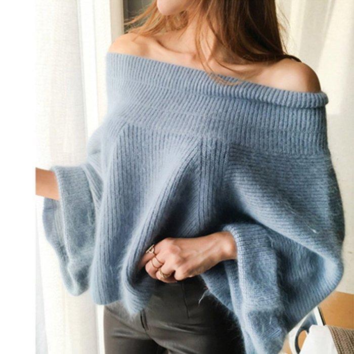 秋冬寬鬆喇叭袖仿水貂絨毛衣套頭女短款一字領露肩馬海毛針織衫
