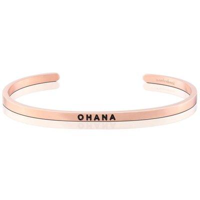 MANTRABAND 美國悄悄話手環 OHANA 一輩子的家人與支持 夏威夷文版 玫瑰金手環