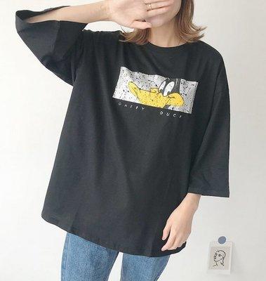 【An Ju Shop】韓國連線 東大門代購 春秋款 純棉寬鬆圓領卡通鴨五分袖T恤上衣~G4B154212