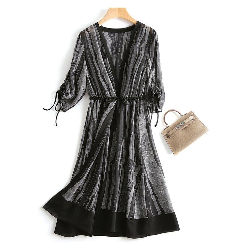 【木風小舖】幾何圖案配色 抽繩袖雪紡開衫外套*黑、白