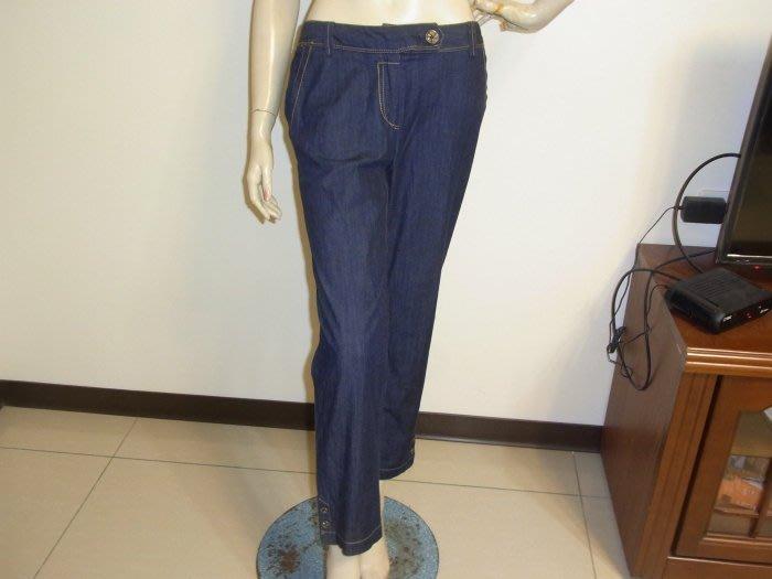 專櫃【AMOR】仿牛仔刷藍後口袋晶鑽 低腰直筒褲 ~AJ衣飾1w-2-17