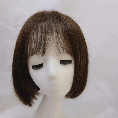 整頂假髮真髮絲短假髮-內彎直髮空氣瀏海女假髮2色73vr38[獨家進口][米蘭精品]