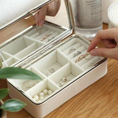 珠光絨首飾盒飾品盒簡約收納盒整理盒帶鏡子珠寶耳釘項錬盒65989    全館免運