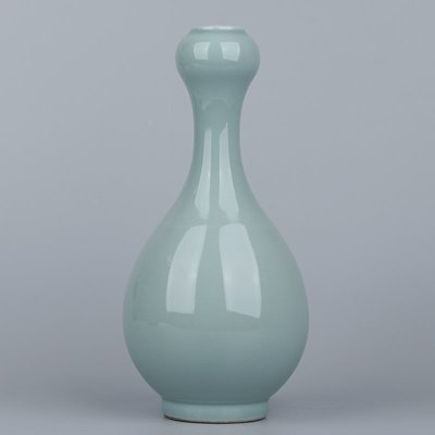㊣姥姥的寶藏㊣大清雍正年制款豆青釉蒜頭瓶古玩古董收藏作坊