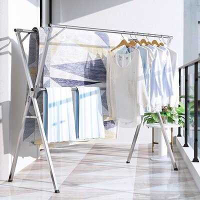 [可開發票]不銹鋼晾衣架折疊落地室內外陽台伸縮涼衣架曬被子神器簡易掛衣桿 【格調】