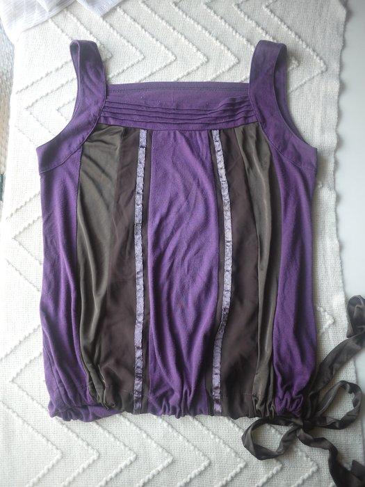 【二手精品好衣】NET 無袖紫色彈性棉綁帶上衣 紫/藕/深紫 衣櫃爆滿清倉特賣價