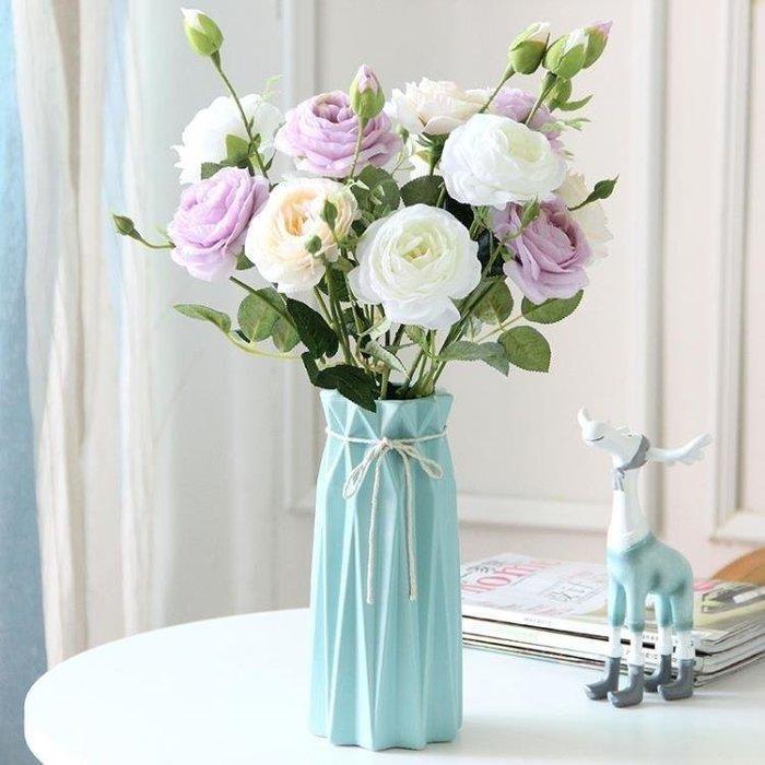 麥麥部落 小清新風風陶瓷花瓶玫瑰花插簡約式式假花干花花器客廳餐桌家居裝MB9D8