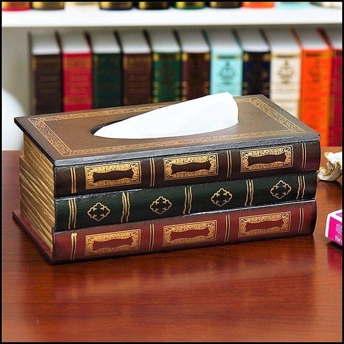 木製描金書本面紙盒A 歐式古典風假書桌上型紙巾盒衛生紙架收納餐廳房間擺飾陳列居家客廳送禮生日父親節禮品送禮【歐舍傢居】