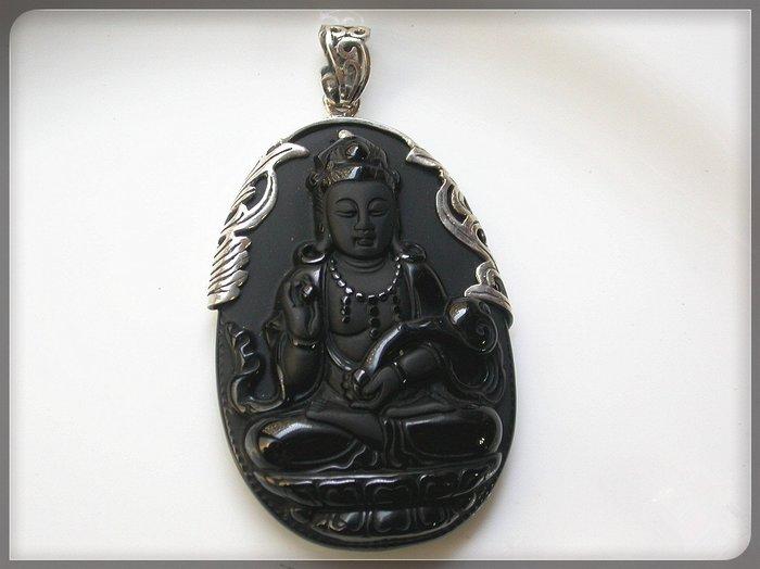 【雅之賞|藏傳|佛教文物】*特賣* 925純銀鑲天然黑曜石 觀音 吊墜~Q1182