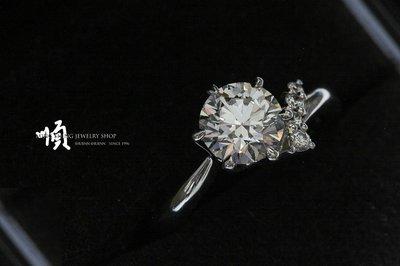 順順飾品--鑽石戒指--Pt900白金日本I-PRIMO品牌GIA天然鑽石戒指┃主鑽1.07ct.E.VVS2.H&A