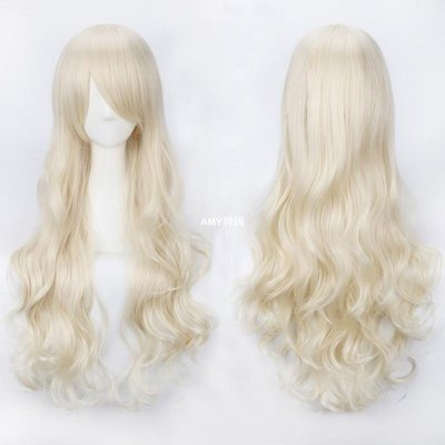 AMY韓國~拍下立減wig歐美ins時尚女生金色淡金色米白長假髮80cm長卷髮動漫