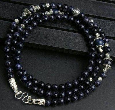 「還願佛牌」泰國 佛牌 鏈 串珠款 項鍊 單掛 經典 鏈子 藍砂石 帝王 松石 6 mm