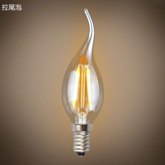 5Cgo【權宇】愛迪生 LED 復古鎢絲燈絲燈泡 6W=20W E14 E12 尖圓拉尾蠟燭 110V 另4W 2W含稅