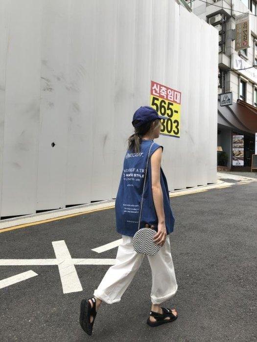 簡約港風寬鬆前後字母印花背心無袖T恤多色