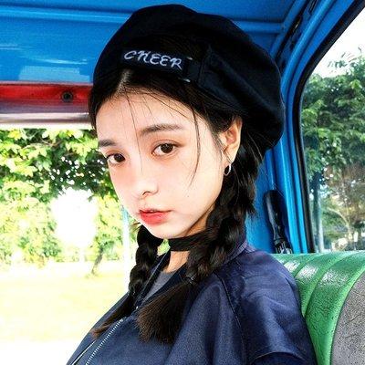 SEYES  個性韓妞歐美設計感CHEER黑色貝蕾帽