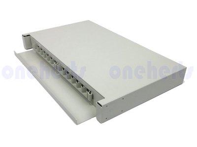 現貨 加厚19英吋抽屜式光纖終端盒通盒 12口 12路 支援 SC LC ST FC耦合器 機櫃式 光纖工作站 TV分點