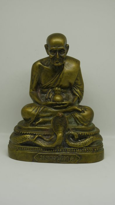 (希瓦利佛牌殿) 2401 阿占多自身像百步蛇 玉佛寺 供奉型 銅 12x9.2x7.3cm