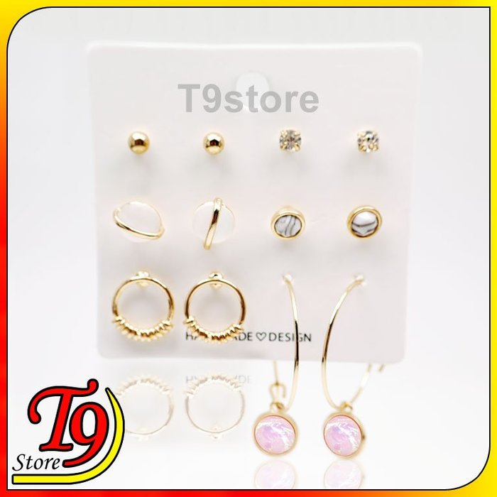 【T9store】韓國製 原石星球組合鋼針耳環