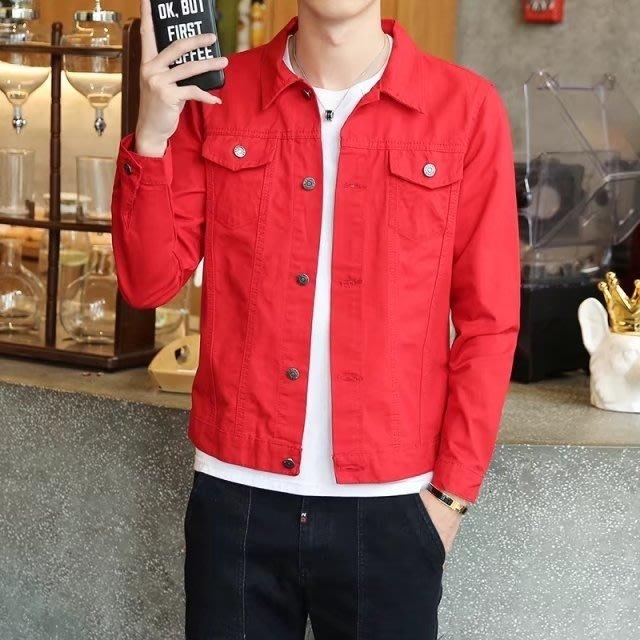 牛仔衣牛仔外套男韓版潮流秋天外穿上衣青少年修身帥氣牛仔衣男士紅夾克99免運 二度