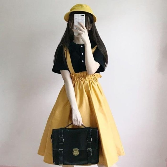 背心裙 裙子夏季學院風裙子短袖T恤背帶裙兩件套日系連身裙女裝