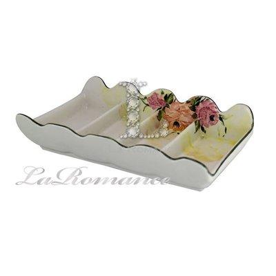 【芮洛蔓 La Romance】義大利 Ceramiche Fabbro 手繪粉玫瑰4格點心盤 / 置物盤 /  點心盤