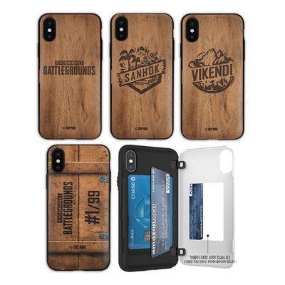絕地求生 仿木紋 防摔側開卡夾 手機殼│iPhone X XS MAX XR 11 Pro│z9108