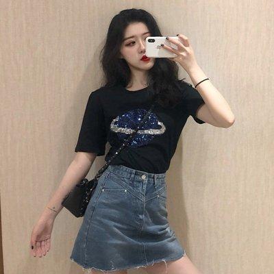 2020春季新款韓版星空珠片寬松圓領短袖T恤女百搭顯瘦上衣打底衫