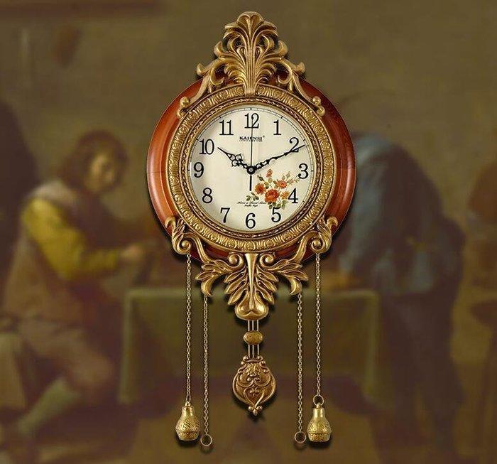 三季 歐式掛鐘仿古鐘錶 古典掛鐘 復古麗聲靜音機芯 ❖729