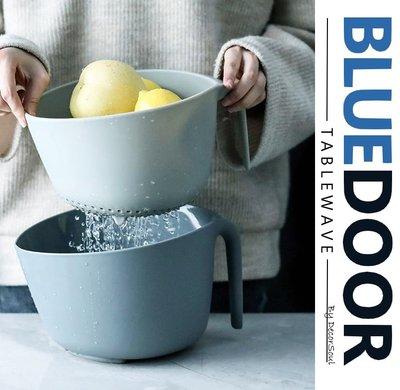 BlueD_ 灰色  雙層 握把 瀝水籃 洗菜籃 沙拉 攪拌碗 洗菜盆 水果籃 塑料 家用創意 水果盆 廚房實用 北歐風
