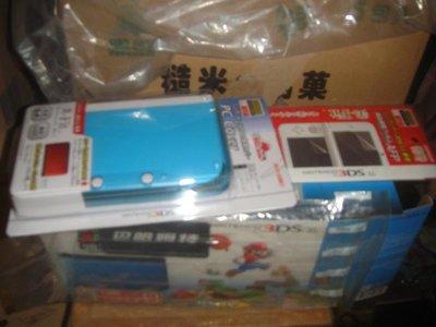 原3DSXL瑪利歐樂園限定外空盒&同捆透藍水晶殼&保護貼(全新)