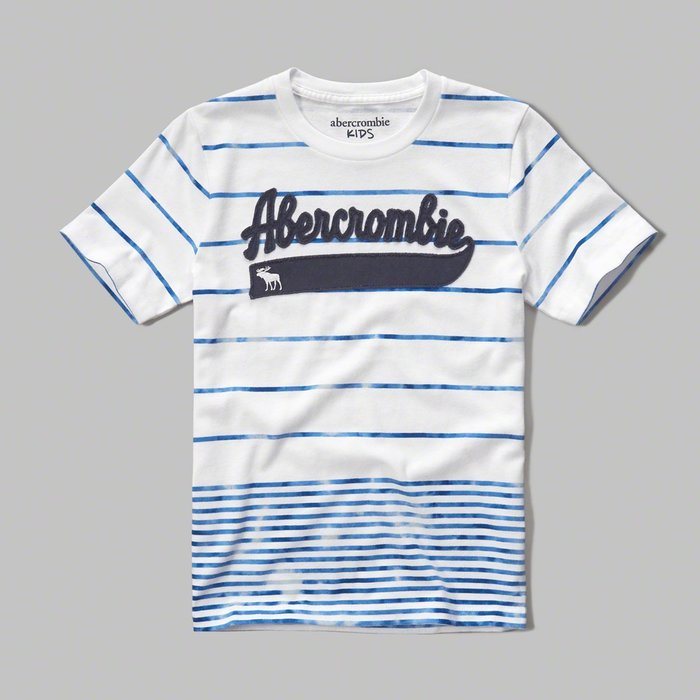 美國百分百【Abercrombie & Fitch】T恤 AF 短袖 麋鹿 kids 女 男 XS 條紋 白藍 G538