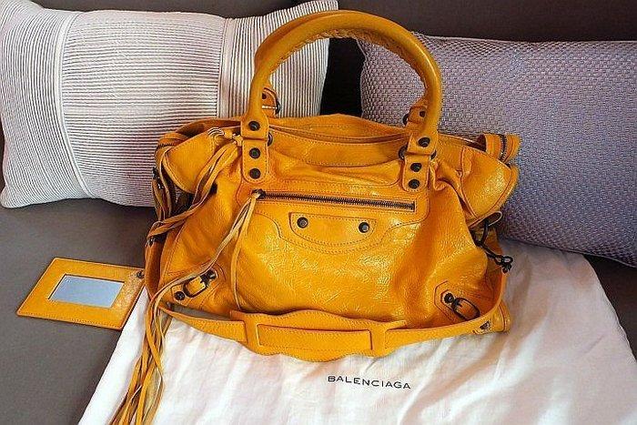 *Beauty*BALENCIAGA向日葵黃色機車包 CR 約9成新