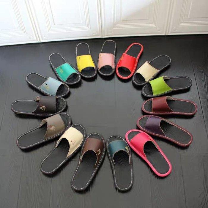 2020真皮新款海宁工厂直营牛皮拖鞋室内牛津底平跟居家男女拖鞋夏