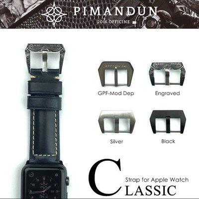 【皮曼頓】Apple Watch 1234代 42 44mm 沛納海 義大利瘋馬皮 錶帶 深藍 型號C045