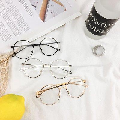 韓國圓框顯臉小個性平光鏡女文藝顯瘦復古金屬細框學生情侶眼鏡潮