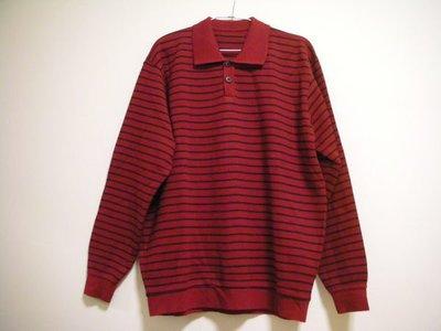 全新未穿 BOSSINI 經典款氣質紅搭配條紋厚實細針毛線男溫暖正式 POLO 有領版長袖毛衣