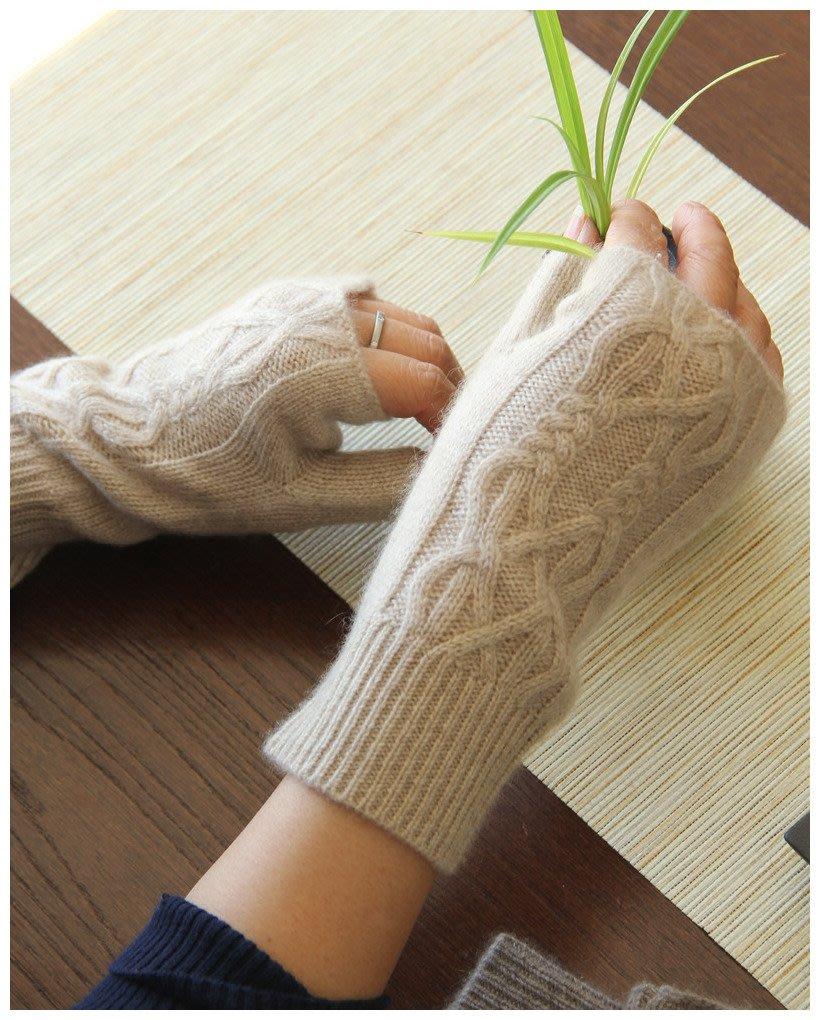 時髦小物 柔軟露指復古絞花半指純羊絨手套 保暖百搭針織手套女