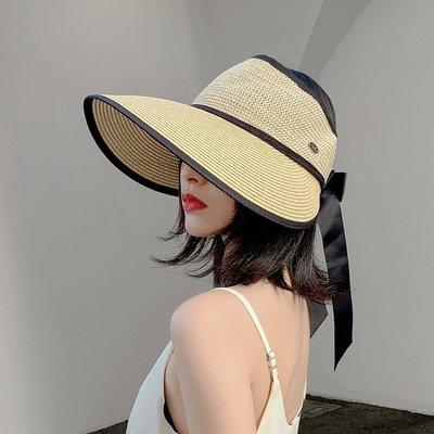 沙灘帽清新日本ARSE夏天空頂大沿帽子女夏遮陽韓版潮網紅防曬太陽可折疊草帽帽子簡單