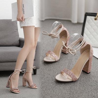 YANGS木易設計感高跟鞋仙氣薄底閃亮亮薄底歐洲站公主走秀性感超高粗跟涼鞋