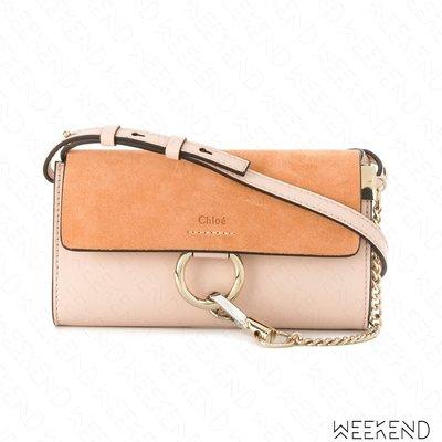 【WEEKEND】 CHLOE Faye Wallet Mini 麂皮 長夾 肩背包 Cement Pink 粉