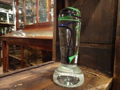 【卡卡頌 歐洲跳蚤市場/歐洲古董 】歐洲老件_藝術 透明玻璃 線條 動感 擺飾 裝飾品 (含簽名) g0009