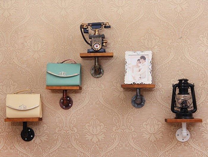 【奇滿來】臥室 廁所 書房 廚房 花瓶隔板置物架 DIY 壁掛牆上實木置物架 復古水管架 loft工業風  AVBQ