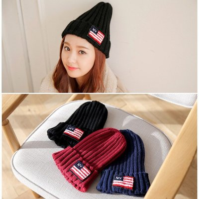 99促銷 韓款原宿英倫風NY美國國旗針織毛線帽男女秋冬保暖帽 K452