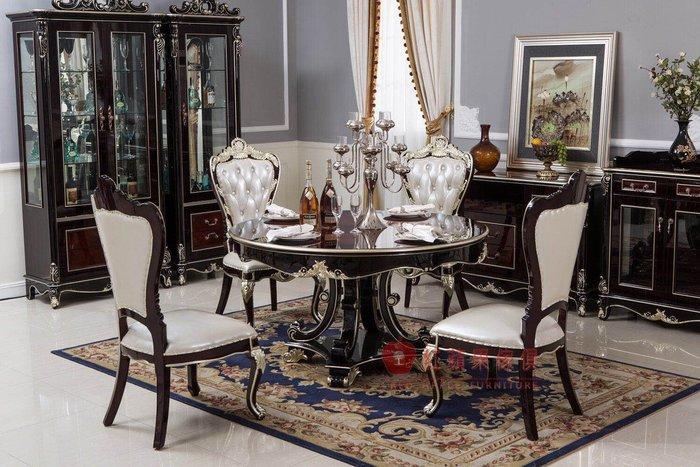 [紅蘋果傢俱]  新古典系列 餐桌 圓桌 圓餐桌 餐椅 可訂製 可改色 數千坪實體 工廠直營